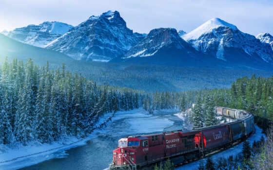 канада, поезд, national, лес, park, landscape, collect, puzzle, anad, локомотив