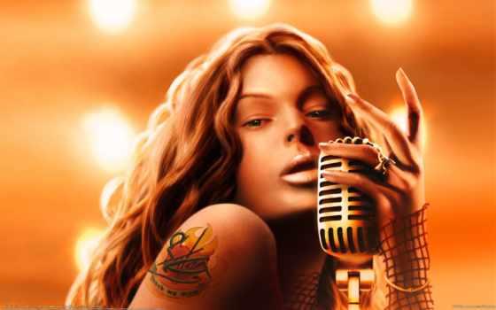 девушка, микрофон, art, татуировка, тату, ринг, сердце,