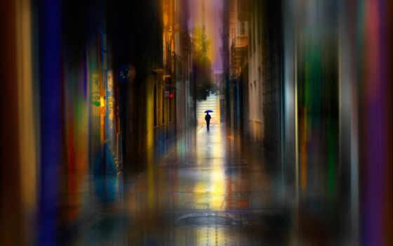 город, art, дождь, улица, marrade, сол, house, краска, зонтик