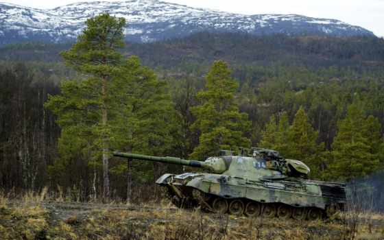 танк, лес, leopard, картинка,