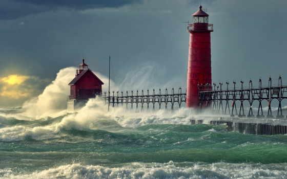 море, маяк, pier
