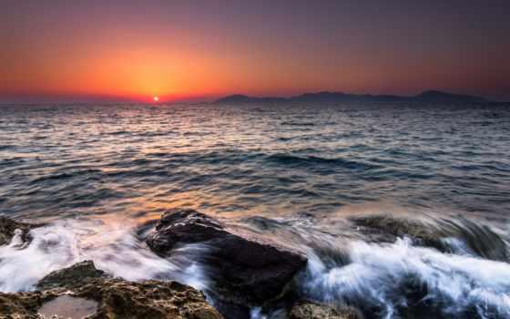 море, дня, закате