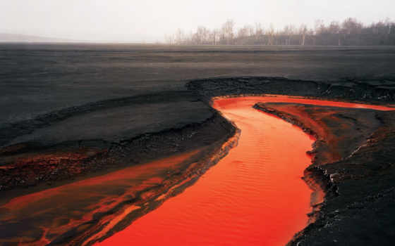 лава, вулкан, река