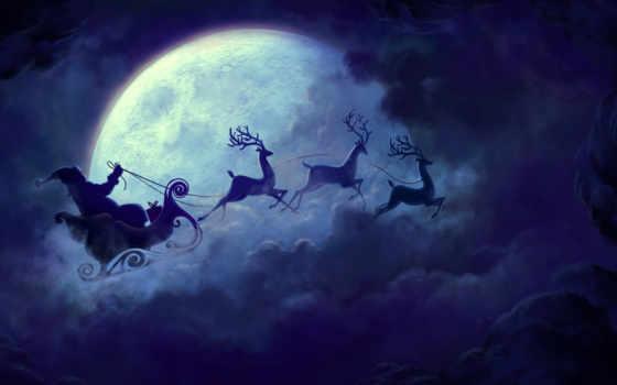 navidad, luna, llena