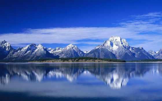 montañas, монитор, dual, fondos, azul, azules, paisajes, imágenes, naturaleza, pantalla,