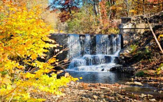 водопад, осенью, искусственный, природа, осень, красивые,