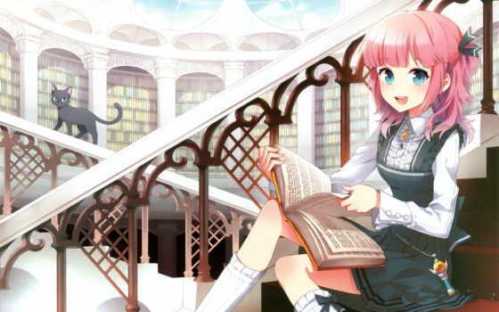 библиотека, девушка, anime, книги, книга, перила, кот, лестница,