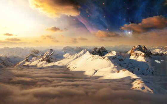 небо, горы, вершины, снег, звезды, oblaka, утро, тени,