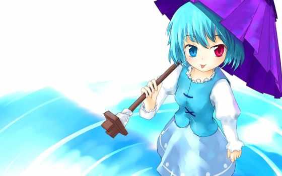 anime, touhou, девушка, fondos, tatara, paraguas, pantalla, chicas, azul, pelo, kogasa,