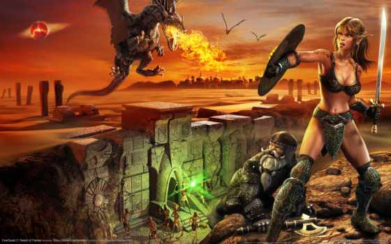 дракон, fantasy, девушка, красивая, бесплатные, огнедышащий, высоком, beginner, игр,