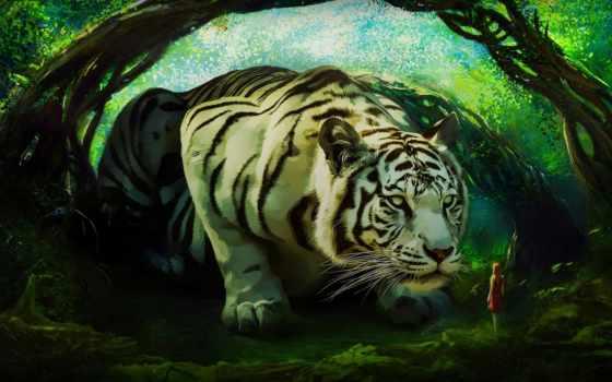 art, тигр, white, девушка, лес, огромный, fore, fantasy