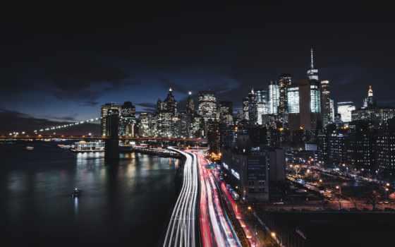 new, york, город, ночь, manhattan, огни, мост, usa