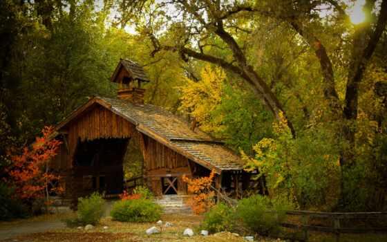 природа, house, окно, лес, коллекция, осень