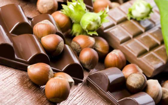 шоколад, орехи, фундук, плитки, скорлупа, орехами, картинка, download, молочный,