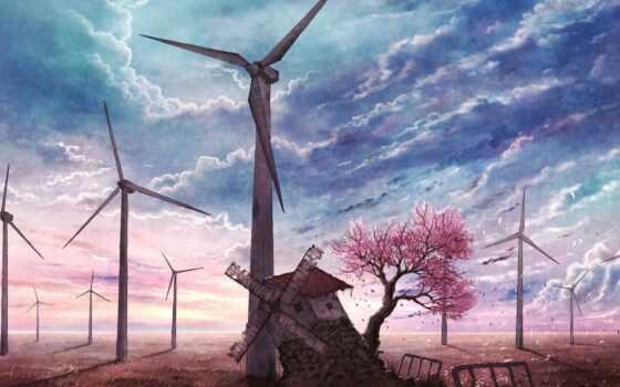 Сакура, цветущая, мельница, заброшенная, голубое, лепестки, небо, anime, качестве, дерево,