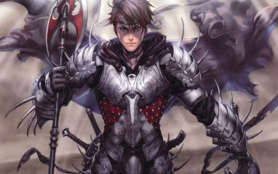 доспех, anime, плащ, парень, spear, мечи, повязка,