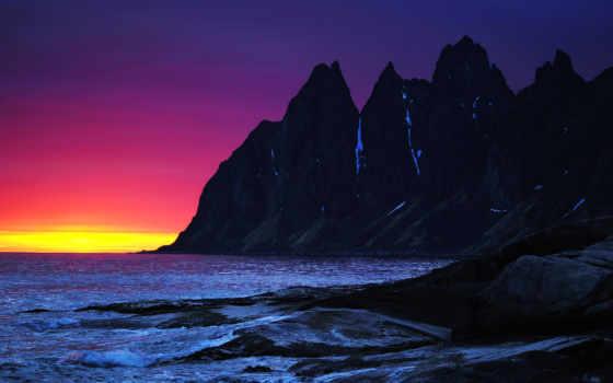 море, горы, скалы, закат, небо, вечер, волны,