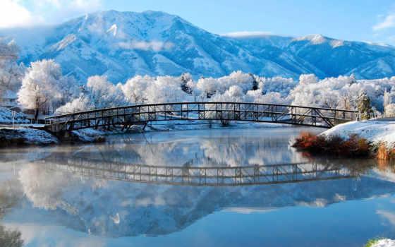 ,снежинки, grandwallpapers, заставки, фоны, горы, красивые,