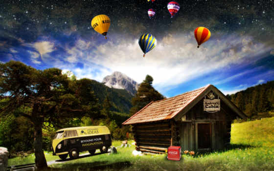 машина, дерево, поле, house, воздушные, шары, горы,