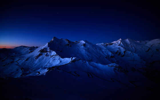 горы, ночь, снег, природа, звезды, совершенно,