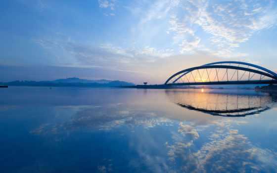 мост, город, путраджайя, putrajaya, утро, рассвет, malaysia, небо, канал, природа,