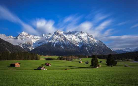 горы, альпы, trees, долина, mountains, дома, небо, зелёный, desktop,
