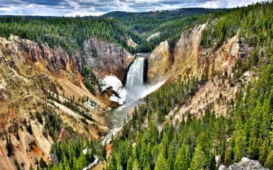 yellowstone, park, falls, national, lower, grand, каньон, небо, wyoming,