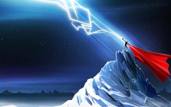 tor, thunder, creator, lightning, thor, art, гора, melnir, drawing, fantasy