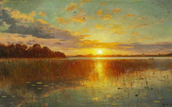 картинка, sun, landscape, небо, река, дерево, облако, закат, canvas, осень, отражение
