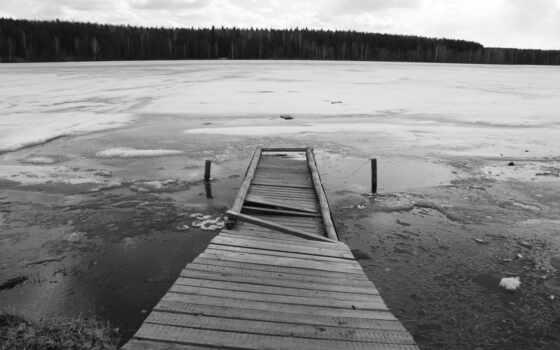 white, black, мост, озеро, ipad, лед, лес