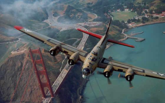 самолёт, мост, golden, золотые, ворота, kay, flying, небо, летающая, картинку, бомбардировщик, крепость, смотрите, plane, авиация,
