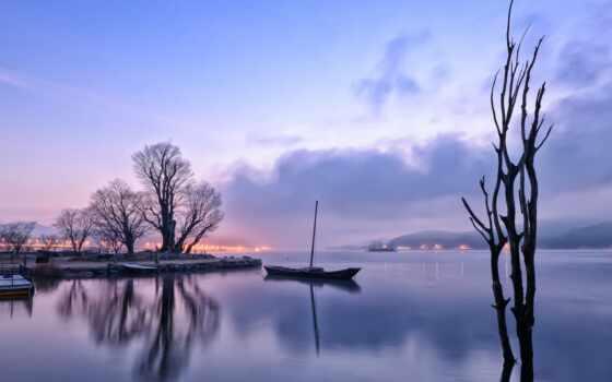 огни, рассветом, озеро, download, перед, утро, before, hallpic, dawn, desktop,