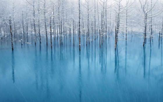 пруд, blue, hokkaido, биэй, small, reki, левом, reservoir,