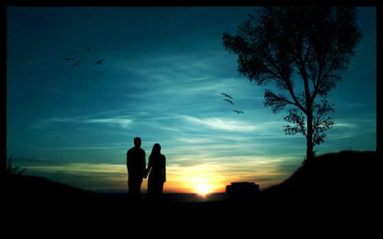 парень, девушка, закат