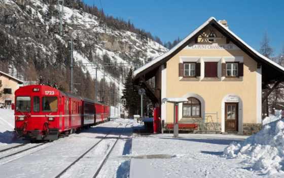 winter, поезд, снег, горы, небо, локомотив, природа, лес, поезда,