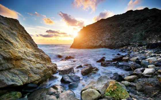 ocean, рассвет, море, скалы, sun, камни, небо, waves, природа, oblaka,