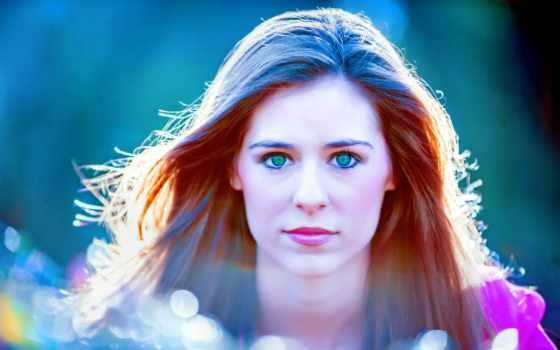девушка, свет, взгляд, глазами, голубыми, лицо,
