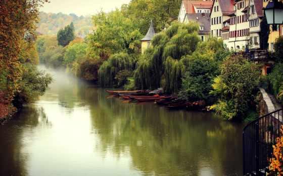 осень, город, trees, дома, german, туман, здания, канал, amsterdam, река,