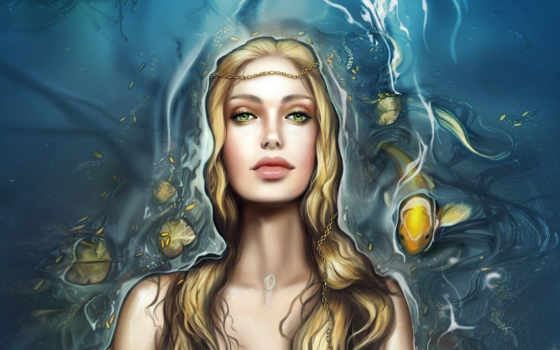 fantasy, девушка, русалки, pisces, devushki, фантастика, воин, art, water, лицо, смотрит,