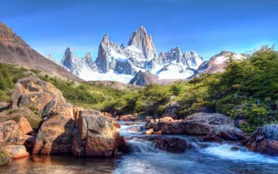 горы, природа, камни, небо, река,