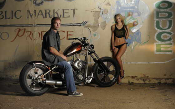 мотоцикл, девушка, emylee, bike, harley, пляж, парень, daytona, davidson, стена