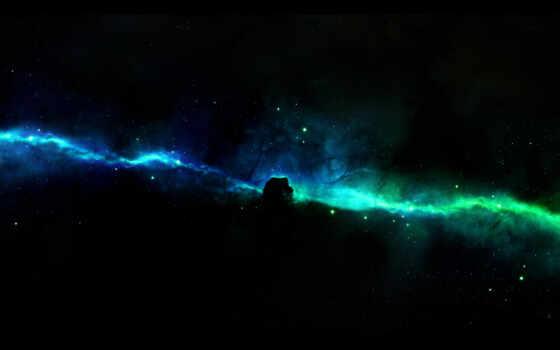зелёный, blue, космос, galaxy, nebula