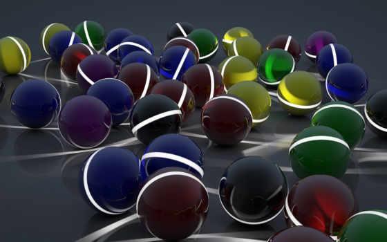 шары, разные, поверхность, полосы, сферы, арт, линии,