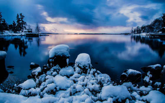 снег, стокгольм, швеция, камни, природа, вода, зима, озеро,