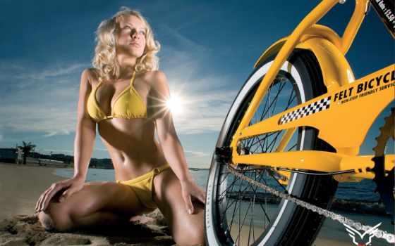 велосипед, девушка, небо