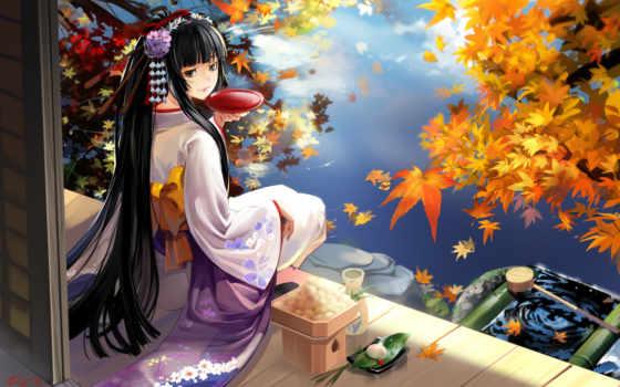 осень, япония, гейша