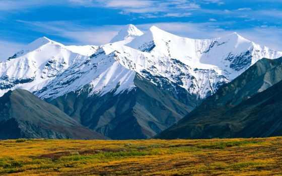 горы, кинли, гора, poppy, denali, гору, аляска, взгляд, national, park, usa,