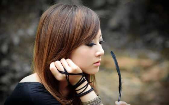 красивые, девушка, азиатская