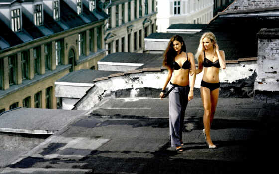 devushki, белье, нижнем, крыше, две,