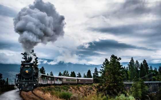 природа, дым, высокого, поезд, локомотив, разрешения, красивые, канадский, colombia, британская, страница,
